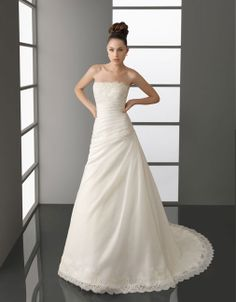 Strapless dropped waist A-line organza #Wedding#Dress