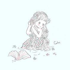 CahoさんはInstagramを利用しています:「君と恋に落ちたいと 思うのはだめ? #illustration #illustrator #illust #illustrationartists #イラスト #人魚姫 #描くの好き」 Anime Chibi, Anime Art, Baby Drawing, Cute Kawaii Drawings, Beautiful Fairies, Cute Doodles, Kawaii Wallpaper, Cute Chibi, Kawaii Girl