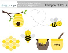 be clip art graphics, bumble bee honey bee hive honeycomb digital clipart  commercial use - INSTANT DOWNLOAD