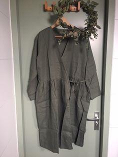 Simply Grey linnenoverslag damesjurk Olive
