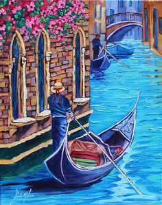 Venice Original Oil Painting Italy Canvas signed wall art Its so easy for me to get caught up in the feeling of a city like Venice, where everything is just beautiful color and gorgeous buildings that are so peaceful. You can roam around and get lost in the labyrinth. This painting is