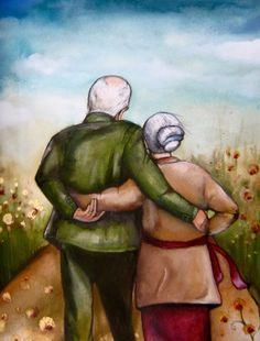 "Claudia Tremblay gift idea wedding anniversary ""our story"" Vieux Couples, Old Couples, Happy Couples, Claudia Tremblay, Growing Old Together, Illustration, 5d Diamond Painting, Parent Gifts, Alter"