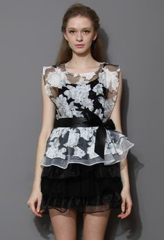 Floral Print Organza Tiered Twinset Dress - Retro, Indie and Unique Fashion