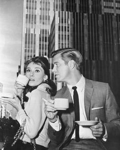 Audrey Hepburn and George Peppard.   Breakfast at Tiffany's 1961.