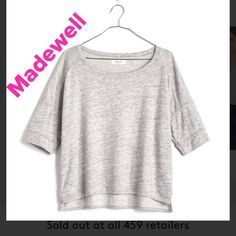 Madewell cropped sweatshirt Size small space dyed short sleeve sweatshirt short in front longer in back sold out everywhere ! Light and dark grey color cotton and polyester Madewell Tops Sweatshirts & Hoodies