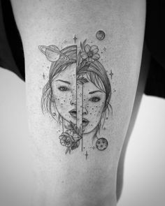 Super fun split face for Siobhan, done during my time with the awesome crew - fantasy tattoo - Minimalist Tattoo Line Art Tattoos, Body Art Tattoos, New Tattoos, Sleeve Tattoos, Buddha Tattoos, Twin Tattoos, Cute Tattoos, Small Tattoos, Tattoos For Twins