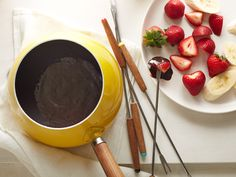 Chocolate fondue is a satisfying end to just about any meal. In Ellie's recipe, cocoa powder and evaporated milk come together to create a dark and delicious dip for fresh fruit. Chocolate Fondue Recipe : Ellie Krieger : Food Network - FoodNetwork.com