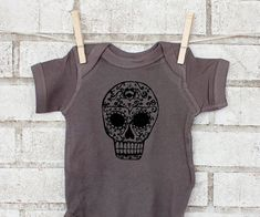 Sugar Skull Cotton Baby One Piece Day of the by CausticThreads, $18.00