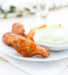 Grilled Buffalo Wings with Avocado Blue Cheese Dip