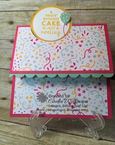 Just Sponge It: Fun Fold, New Products! Party Wishes Bundle, It's My Party Paper Stack, Confetti Stars Punch, Big Shot, Cutie Pie Thinlits, Birthday, DIY, Stampin' Up!