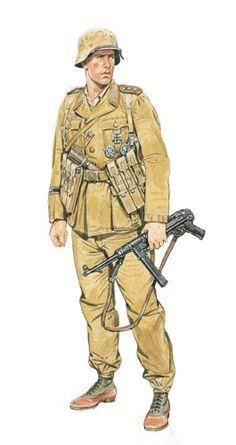 Oberfeldwebel (sargento mayor) de zapadores, Regimiento de asalto, África, 1942.