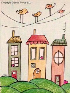 Trendy ideas for bird doodle wire Doodle Drawings, Easy Drawings, Doodle Art, Drawing For Kids, Art For Kids, House Doodle, Bird Doodle, House Quilts, Watercolor Art