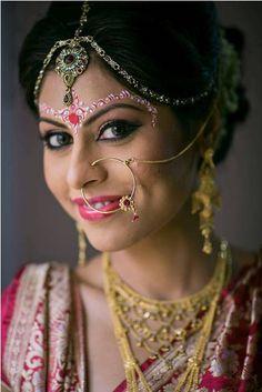Kolkata Bridal Make up Artist- Ujjwal Debnath :: Born Beautiful Bengali Bride, Asian Bridal, Bindi, Kolkata, Bridal Make Up, Indian Fashion, Septum Ring, Halloween Face Makeup, Elegant