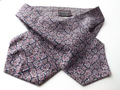 VINTAGE TOOTAL DAY CRAVAT ASCOT Blue Red White Paisley Polyester FREE P&P #Tootal #Cravat