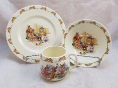 ROYAL DOULTON BUNNYKINS Albion TV Time Salad Plate & Bowl + Dress Making Don Mug #RoyalDoulton