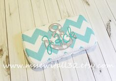 Custom Aqua Chevron with Anchor Applique Travel by MsSewItAll32, $16.00