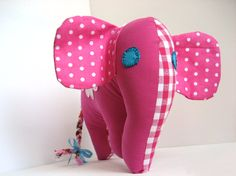 Stuffed elephant pink - Handmade kids toy by Mippoos