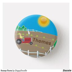 Sunny Farm Tractor Kids Name  Button