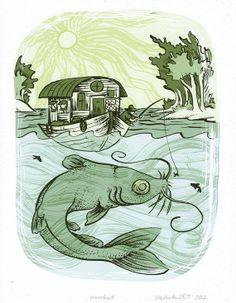 Art print Michelle Duckworth Houseboat by MichelleDuckworth, $12.00