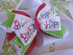 Happy Birthday Hair Bow Hair Clip Headband by SweetEmmieBowtique, $6.00