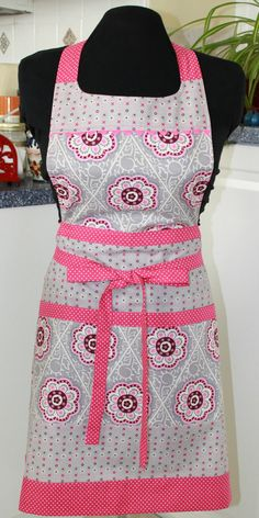Pink Gray Modern Full Apron by sewmuch2luv on Etsy
