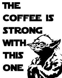 Olhem o que encontrei pela rede, que muito legal! Ilustrações divertidas envolvendo café e Star Wars, para imprimir e decorar sua casa...