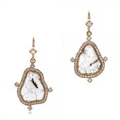 Natural Diamond Slice Earrings