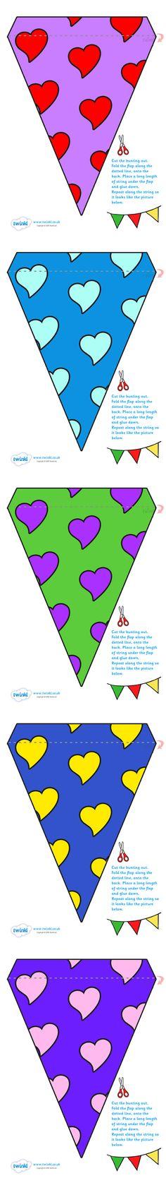 Twinkl Resources >> Display Bunting- Hearts >> Classroom printables for Pre-School, Kindergarten, Elementary School and beyond! Decor, Buntings, Display