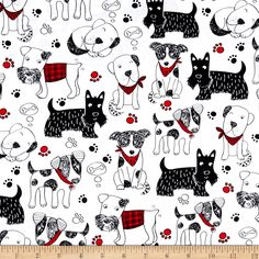 Timeless Treasures Scribble Dogs White Fabric By The Yard