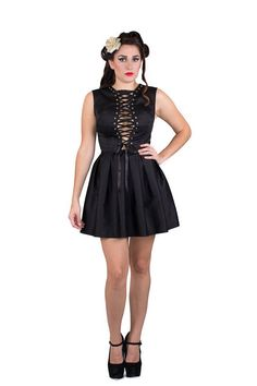 Give a gothic glam touch to your look with this Black Skater Skirt Dress with Corset Top. You can use it for your prom night, a night out with friends or a romantic dinner. The cut of the this dress is perfect for any body shapes. So it's hard to hate something that's amazing. If you're apple-shaped, you can rock it and if you're pear-shaped, you too can look good in the dress!!!