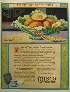 1921 Crisco Shortening Ad ~ Fried Stuffed Eggs, Vintage Baking Ads