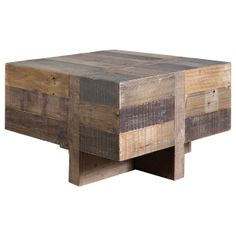 The Carvalho is a low side table that combines rustic charm with a simple geometry. Made from mixed tones of beautiful, salvaged wood, the table has Condo Furniture, Recycled Furniture, Large Furniture, Handmade Furniture, Reclaimed Furniture, Accent Furniture, Furniture Ideas, Square Side Table, Rustic Coffee Tables