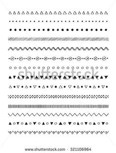 Hand drawn border lines decorative elements set. Vector brushes