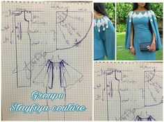 Easy Sewing Patterns, Sewing Tutorials, Clothing Patterns, Dress Patterns, Sewing Aprons, Sewing Clothes, Diy Clothes, Stylish Blouse Design, Cape Dress