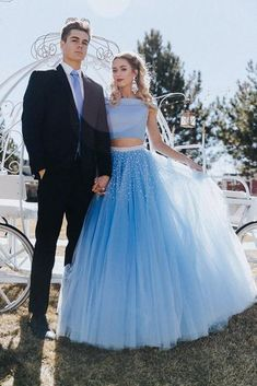 Stunning A Line Off the Shoulder Two Piece Sky Blue Tulle Prom Dresses Prom Dress A-Line, Prom Dress, Prom Dress Two Piece, Prom Dress Blue Prom Dresses 2019 Prom Dresses Two Piece, Cheap Prom Dresses, Two Piece Dress, Burgundy Homecoming Dresses, Prom Couples, Sweet 16 Dresses, Tulle Prom Dress, Prom Pictures, Handmade Dresses