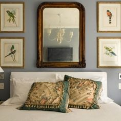Love the wall color and the frame finish. This would be perfect off of our rustic bedroom for the bathroom! Bird Bedroom, Gold Bedroom Decor, Bedroom Ideas, Hastings House, Country Bedroom Design, Rustic Mirrors, Decorating With Pictures, Decorating Ideas, Gray Interior