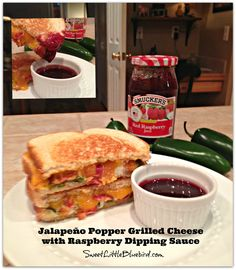 Jalapeño Popper Grilled Cheese Sandwich with Raspberry Dipping Sauce! Simple to make, so darn good!