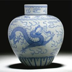A BLUE AND WHITE DRAGON JAR AND COVER,Qianlong seal mark