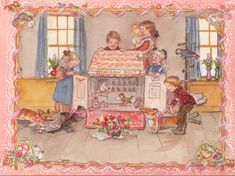 Doll House - Tasha Tudor by cassie Children Images, Paintings I Love, Vintage Greeting Cards, Children's Book Illustration, Vintage Children, Tudor, Country Girls, New Art, Vintage Illustrations