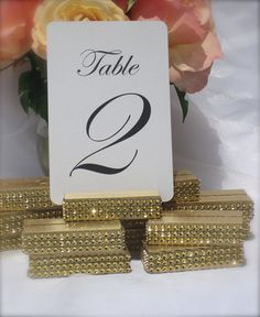 Gold wedding Table Number Holder  Gold Table Sign by Gallery360