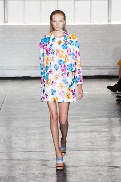 Feminine cuts mixed with bright colors at Tanya Taylor for a completely wearable look suitable for many ages. Fabulous legs are a must, of course. #nyfw #ss2014 #tanyataylor