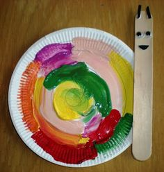 Colorful snail paper plate craft