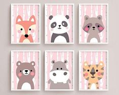 Sale Off = Printable Nursery Art Set of 6 - Fox Panda Raccoon Bear Hippo Tiger ( Baby room decor kids Poster Cute Animal kawaii Woodland