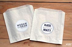 50 Custom Wedding Stickers / Favor Bags / Birthday by WinkEvents, $17.50