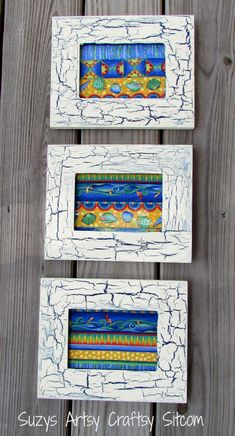 How to make wall art with fabric.  Includes easy crackle effect with acrylic paint and glue!