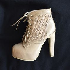 Tan booties Super cute tan booties with a crochet detail. These are like new and true to size. They have some minor wear but nothing crazy. Only wore them one time because sadly they are tight on me. These remind me of Jeffree Campbell lita heels. Shoes Ankle Boots & Booties
