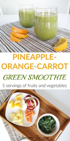 Want to boost your health and immunity? Try this Pineapple-Orange-Carrot Green Smoothie Recipe full with vitamins, minerals and fiber. This green smoothie recipe contains 5 servings of fruit and vegetables. This smoothie recipe provides all vitamins you will need for the day. It also fills your stomach and makes a great meal replacement smoothie to help lose weight.
