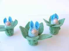 Easter bunny waldorf decor rabbit  blue bunnies by fairyshadow, $12.00