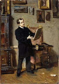 Self portrait while looking at a painting | Giovanni Boldini | oil painting