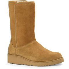 Ugg Australia Amie Slim Mid Shaft Wedge Boots ($200) ❤ liked on Polyvore featuring shoes, boots, chestnut, wedge heel boots, slim boots, wedge ankle boots, wedge bootie and short boots